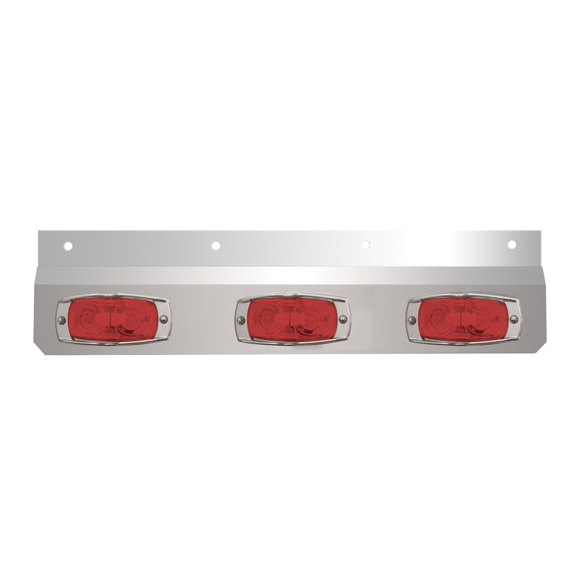 #30645 Stainless Steel Lighted Top Plate with Cat-Eye Lights - Red
