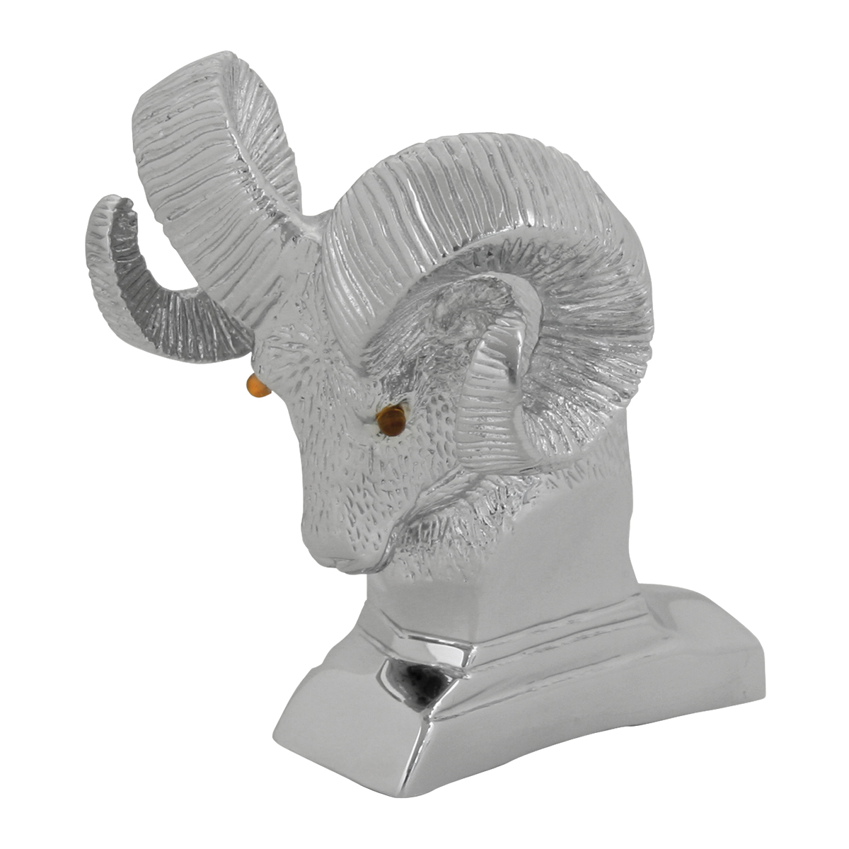 Chrome Cast Die Ram's Head with Illuminated Amber Eyes Hood Ornament – Eyes unlit