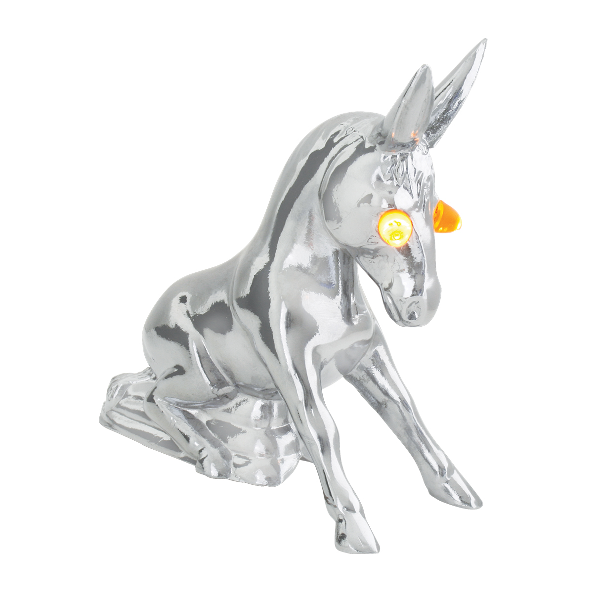Chrome Die Cast Novelty Donkey w/Amber LED Eyes