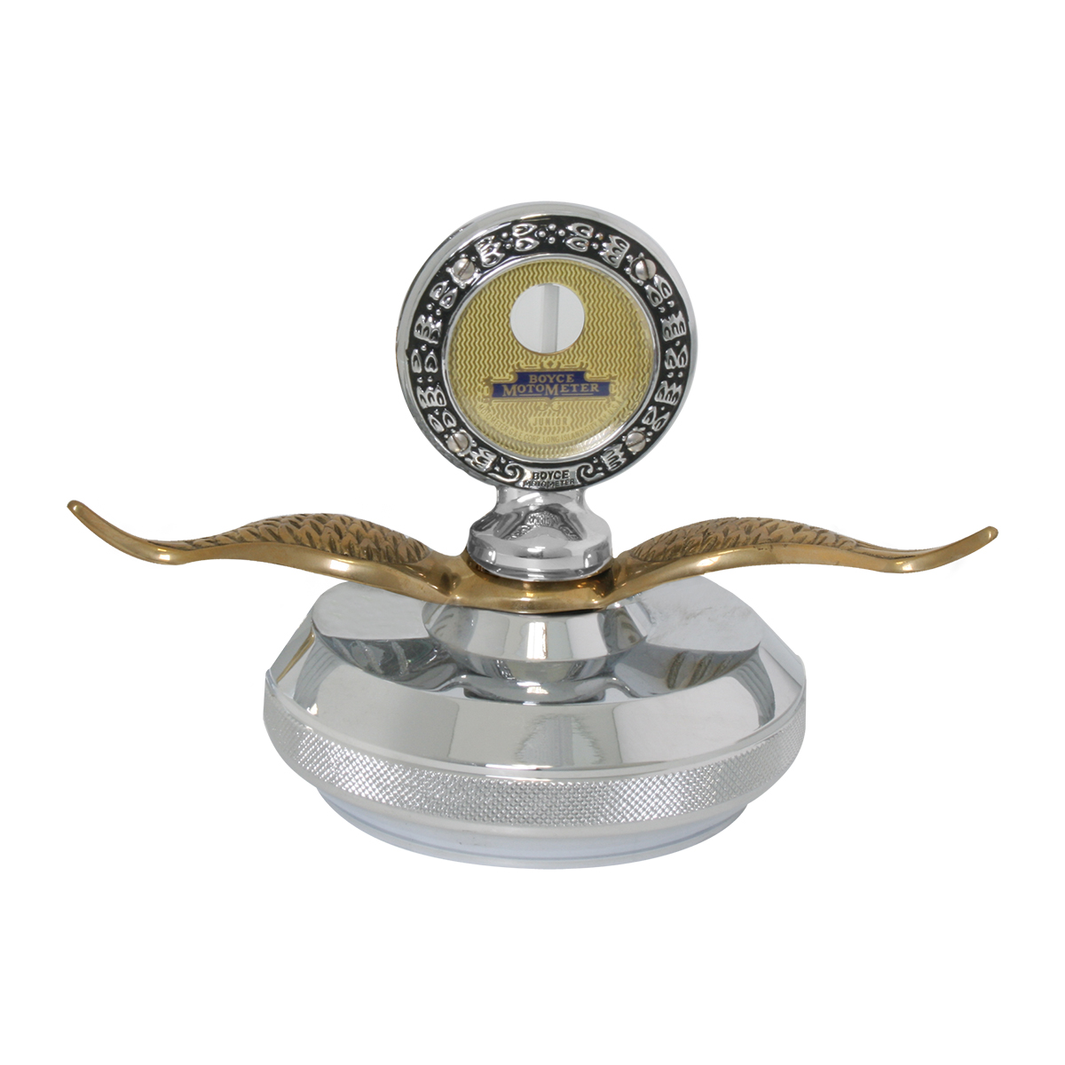 Small Chrome Motometer with Brass Wings & Chrome Die Cast Base Hood Ornament