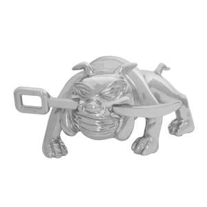 Chrome Die Cast Bull Dog w/Winch Bar Hood Ornament