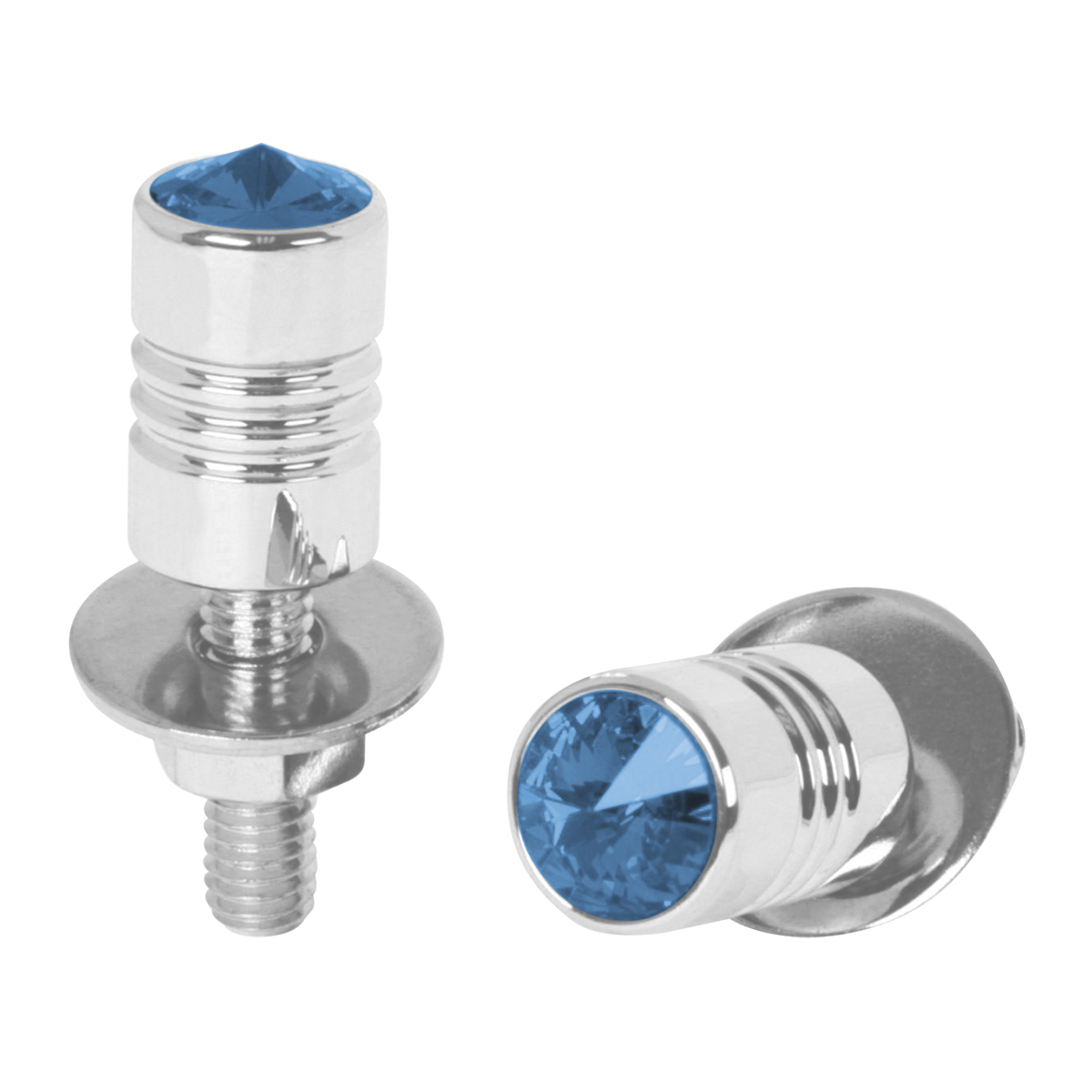 "½"" Dia. x 1 ½"" (H) Aluminum Fastener Set with Blue Crystal on Top"