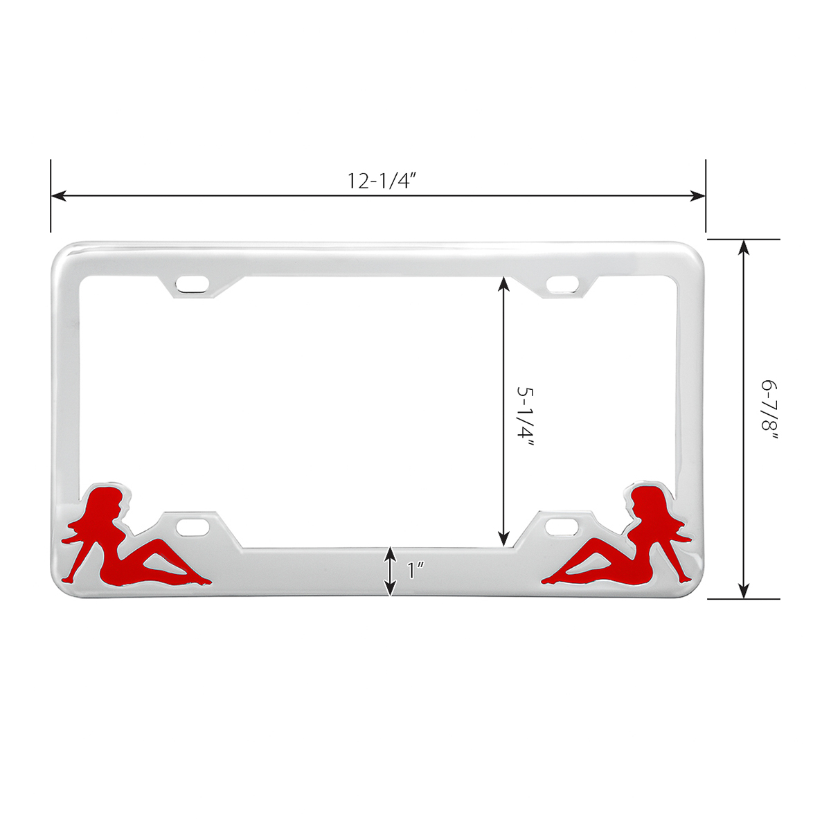 Chrome Plated Steel License Plate Frame with Red Color Sitting Ladies - Measurements
