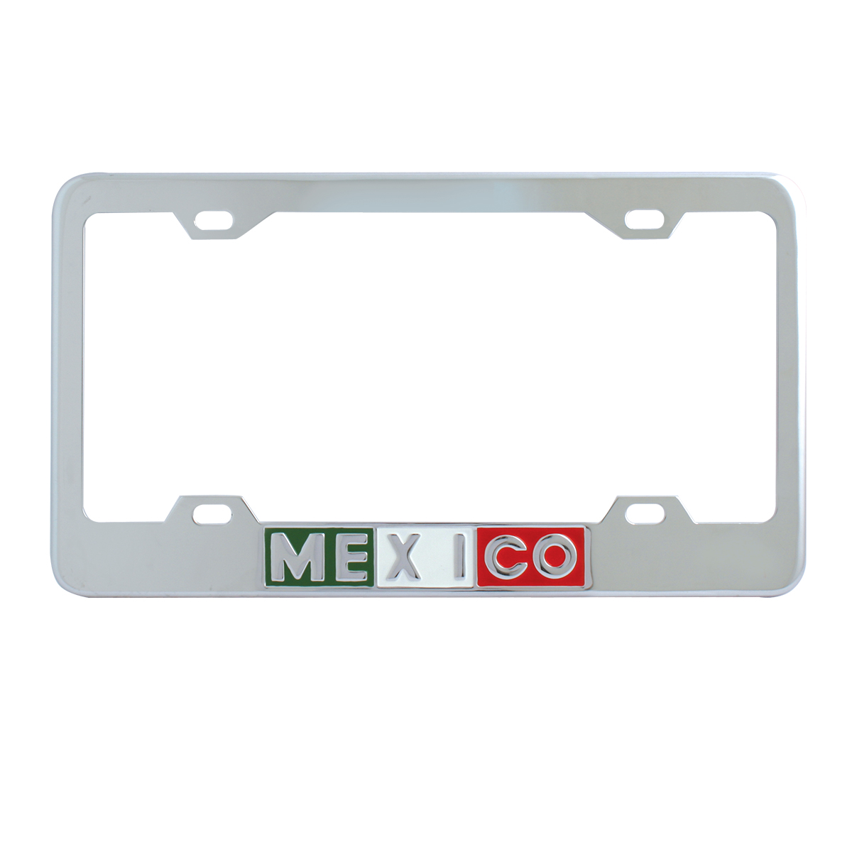 60210 Chrome Plated Steel Mexico License Plate Frame - 4 Holes