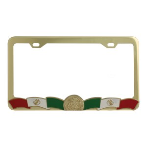 Mexican Flag Design License Plate Frame with 2 Holes
