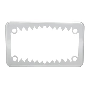 Chrome Plated Steel Shark Teeth Motorcycle License Plate Frame - 4 Holes