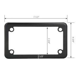 Flat/Matte Black Powder Coated Motorcycle License Plate Frame - 4 Holes Measurements