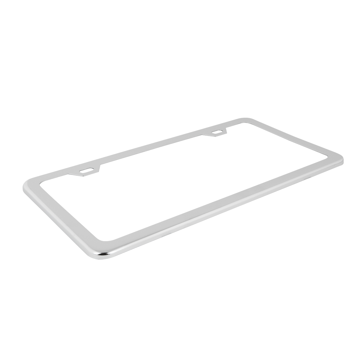60400 Plain Chrome Plated 2 Hole License Plate Frame - Top View