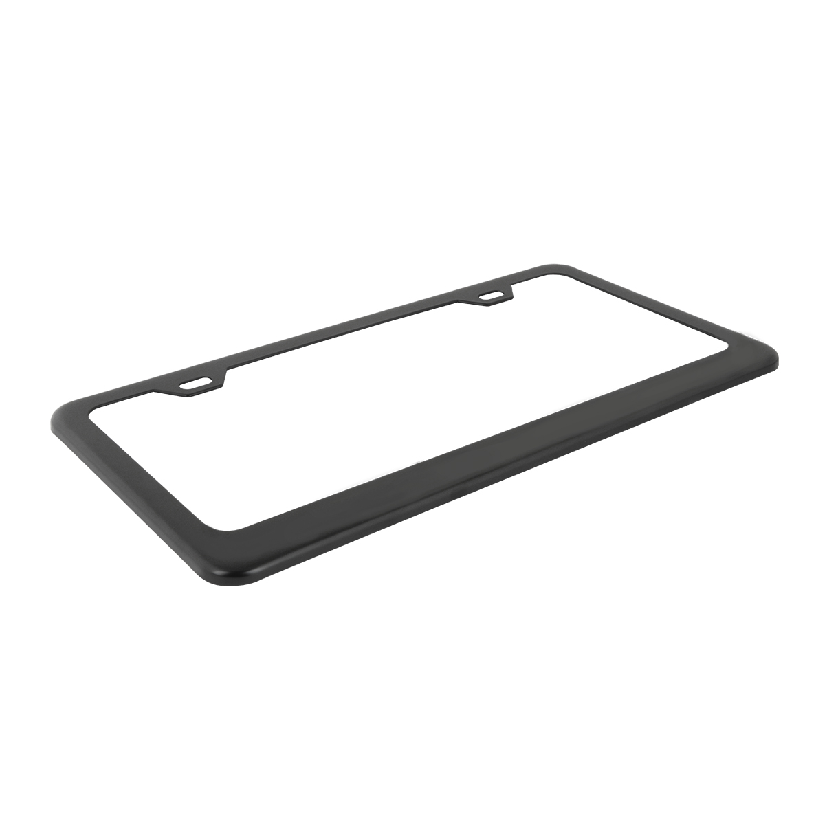 60439 Flat/Matte Plain Black 2 Hole License Plate Frame - Top View