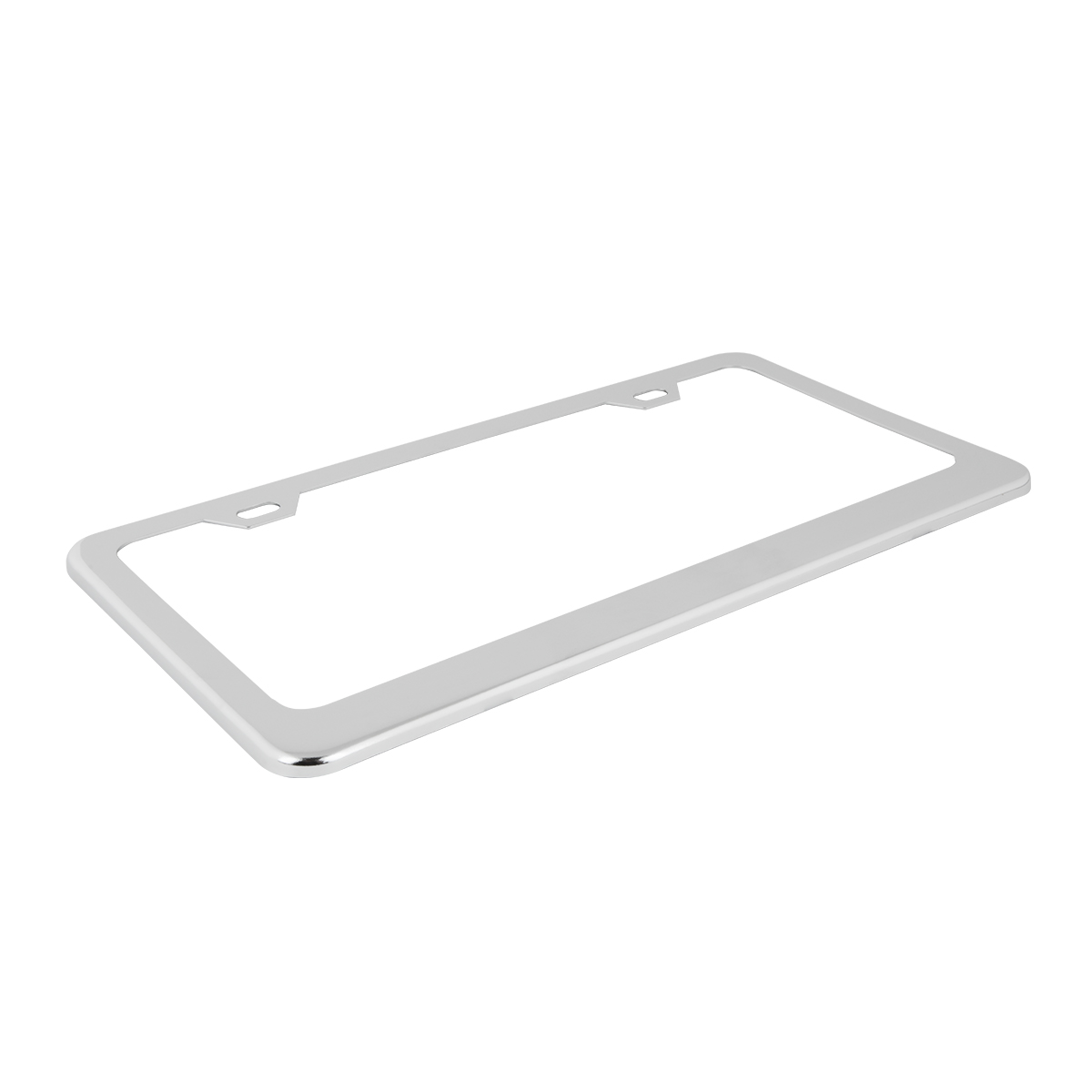 Plain Stainless Steel 2 Hole License Plate Frame - Top View
