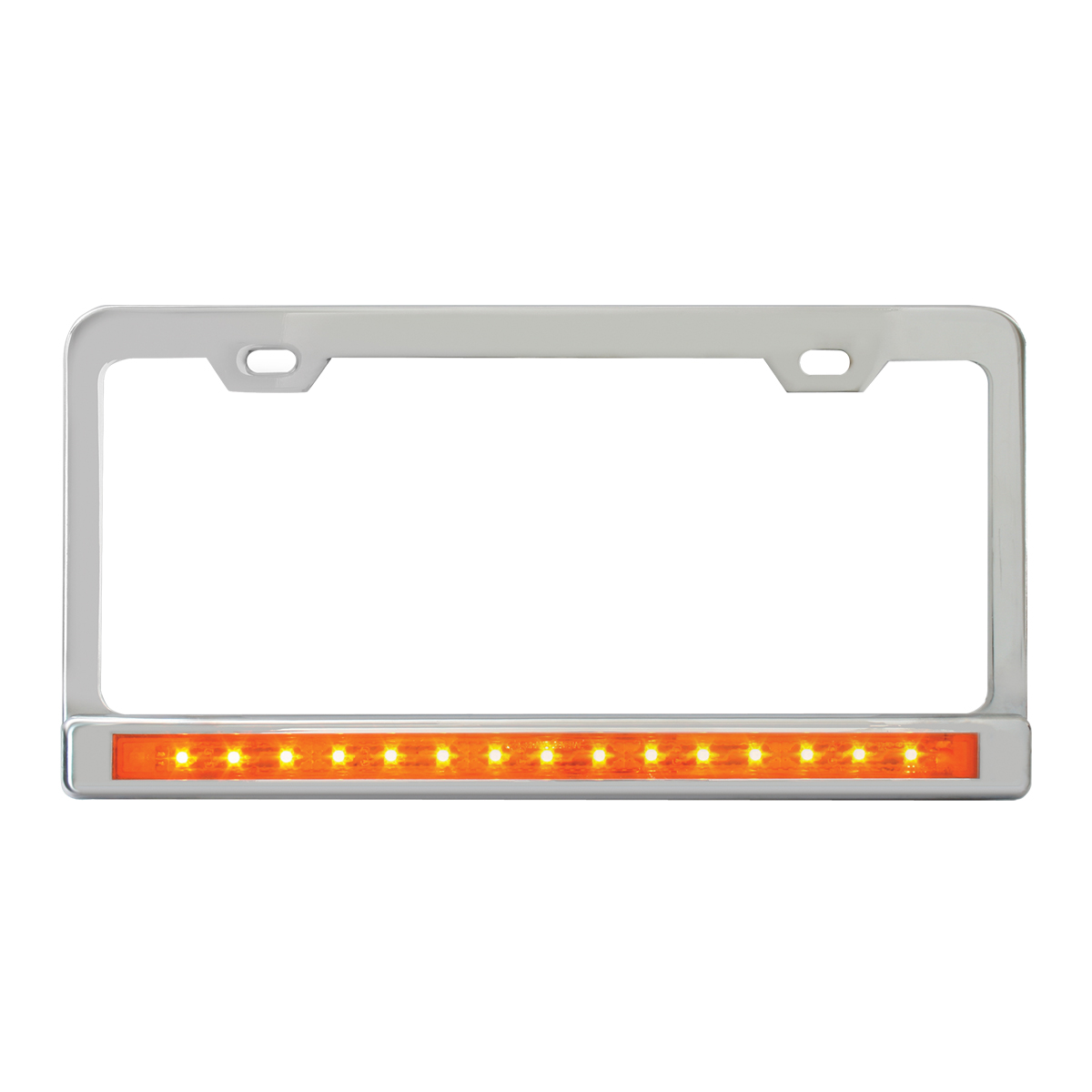 "Chrome Plated Steel 2 Holes License Plate Frame with 12"" LED Amber/Amber"