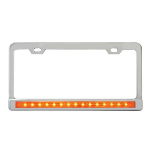 License Plate Frames with 12″ LED Light Bars & Chrome Plastic Bezels