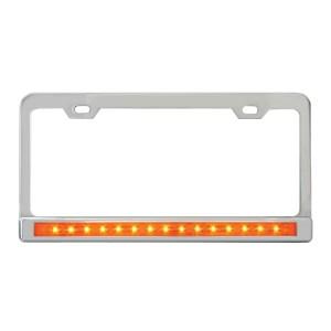 License Plate Frames with 12″ LED Light Bars & Chrome Plastic Bezels