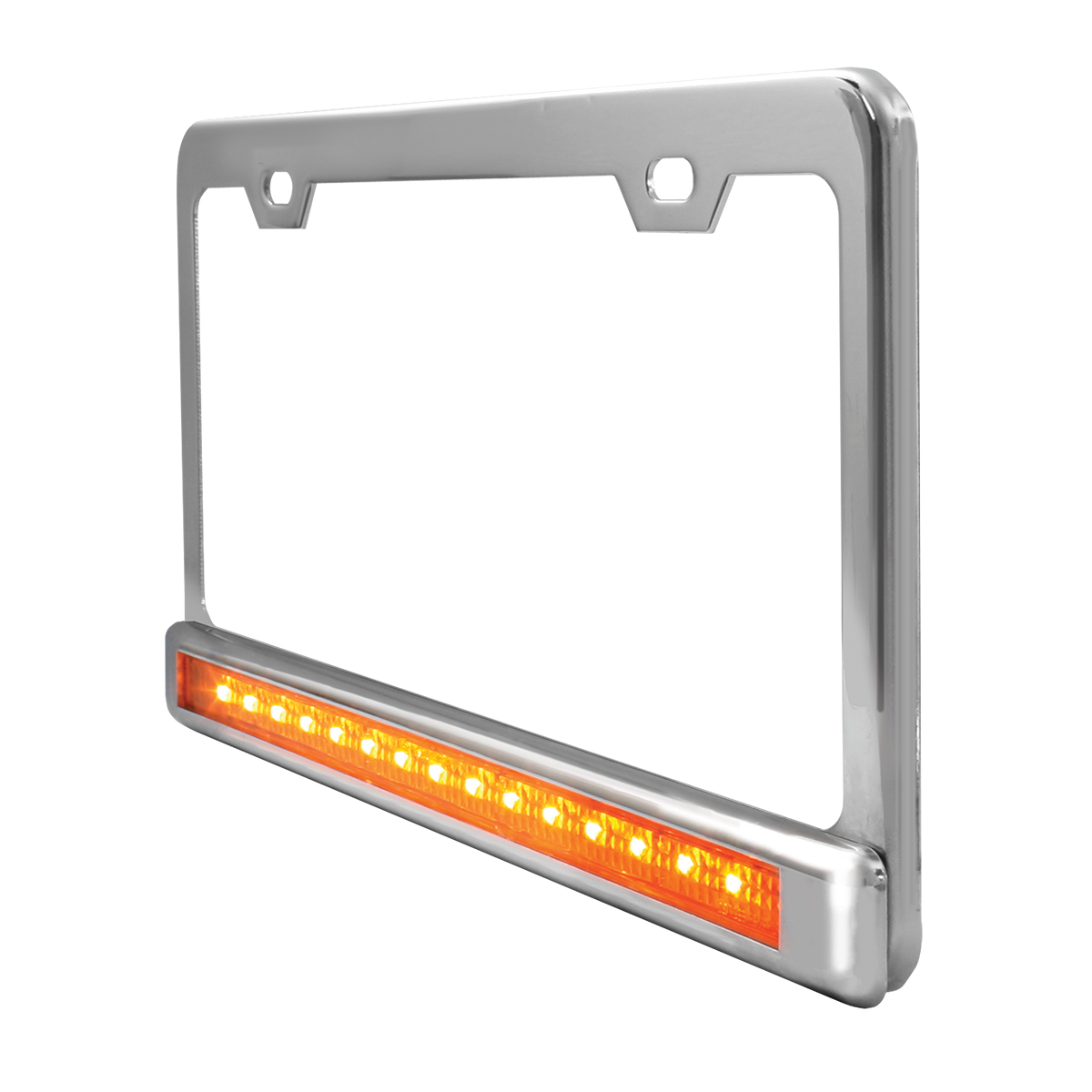 "Chrome Plated Steel 2 Holes License Plate Frame with 12"" LED Amber/Clear - Side View"