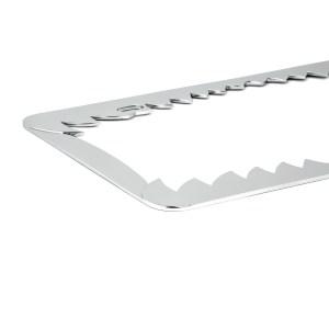 Chrome Die Cast Shark Teeth License Plate Frame - Close Up View