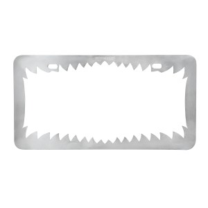 Chrome Die Cast Shark Teeth License Plate Frame - Back View