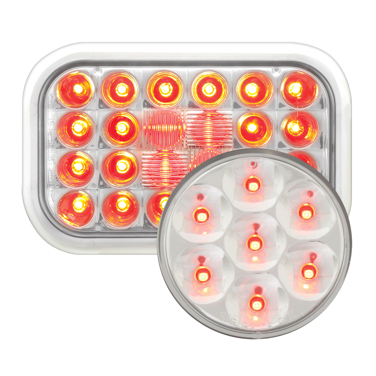 #77183/#76583 Pearl LED Red/Clear - Flat