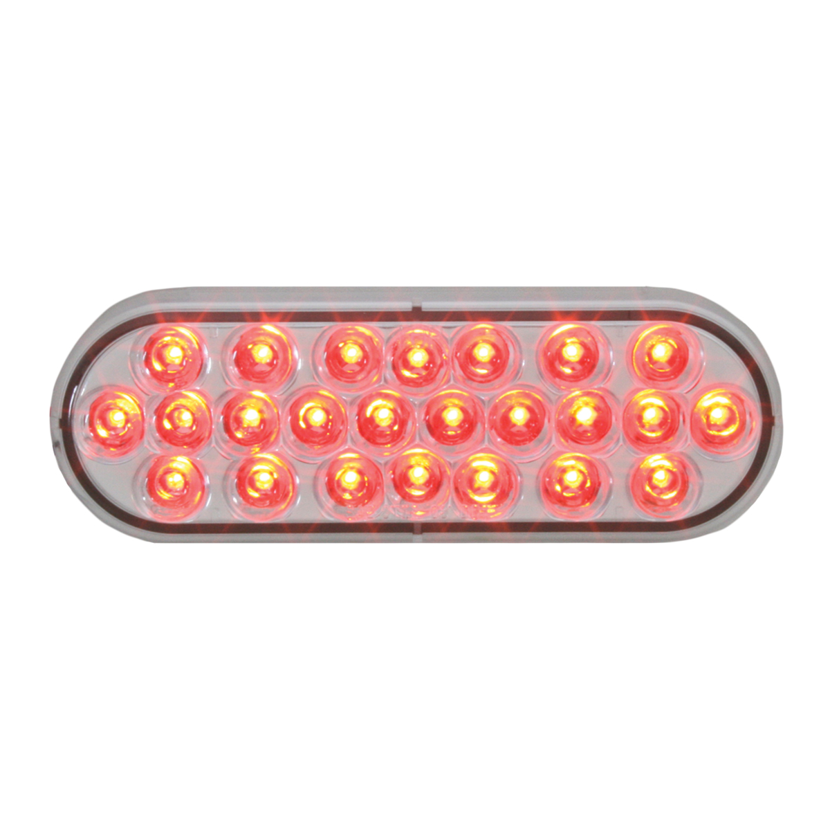 #78234 - Oval Pearl LED Flat Red/Clear Light - Slanted
