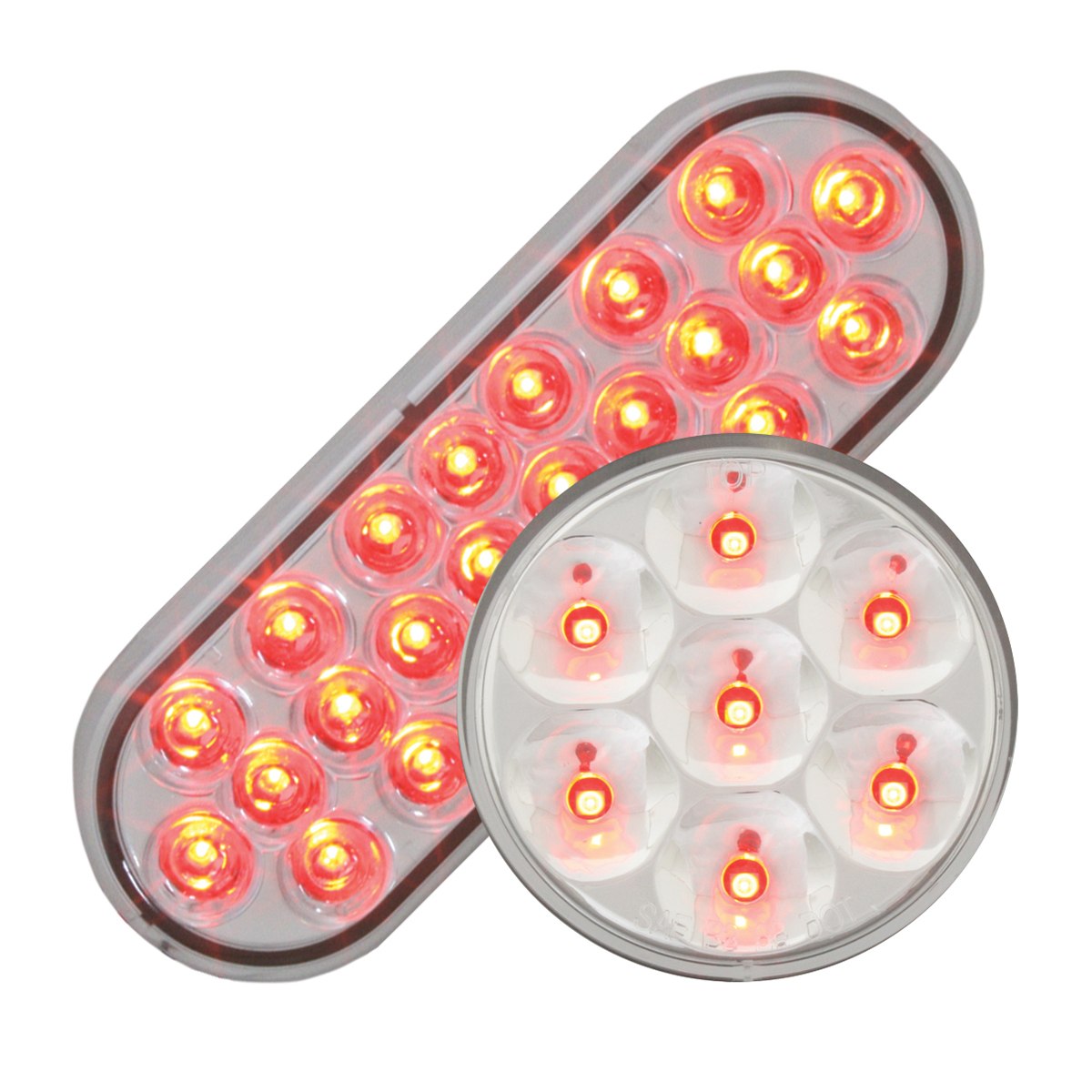 #78234/#76543 Pearl LED Flat - Red/Clear