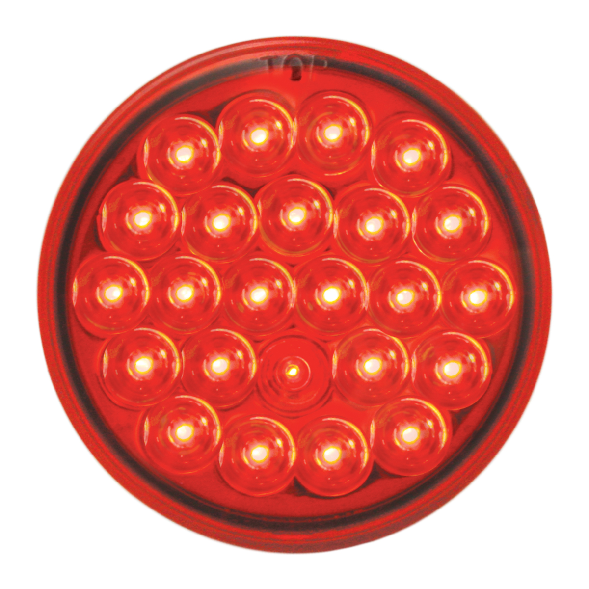 """#78273 4"""" Round Pearl LED Flat Red/Red Light"""