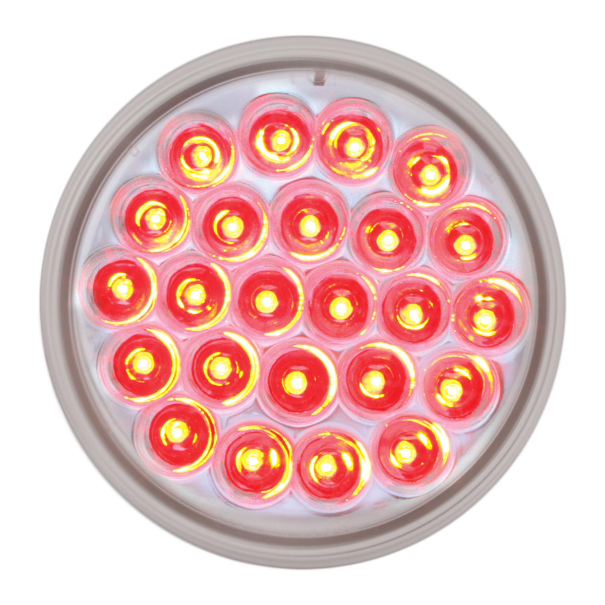 "#78274 - 4"" Round Pearl LED Flat Red/Clear Light"