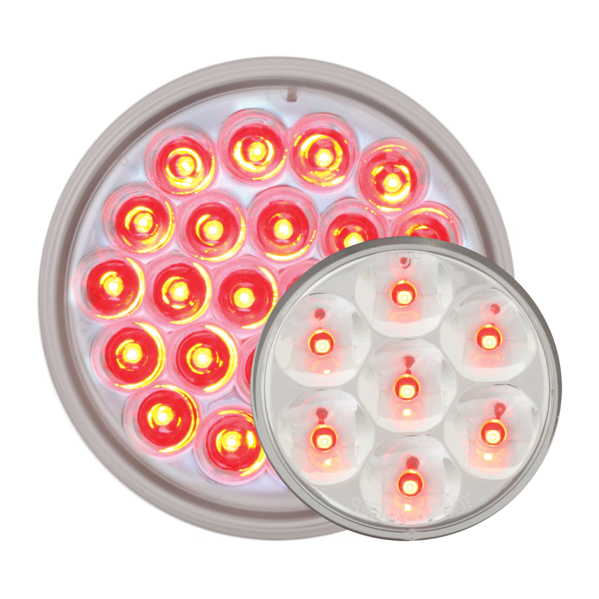 #78274/ #76583 Pearl LED Flat - Red/Clear