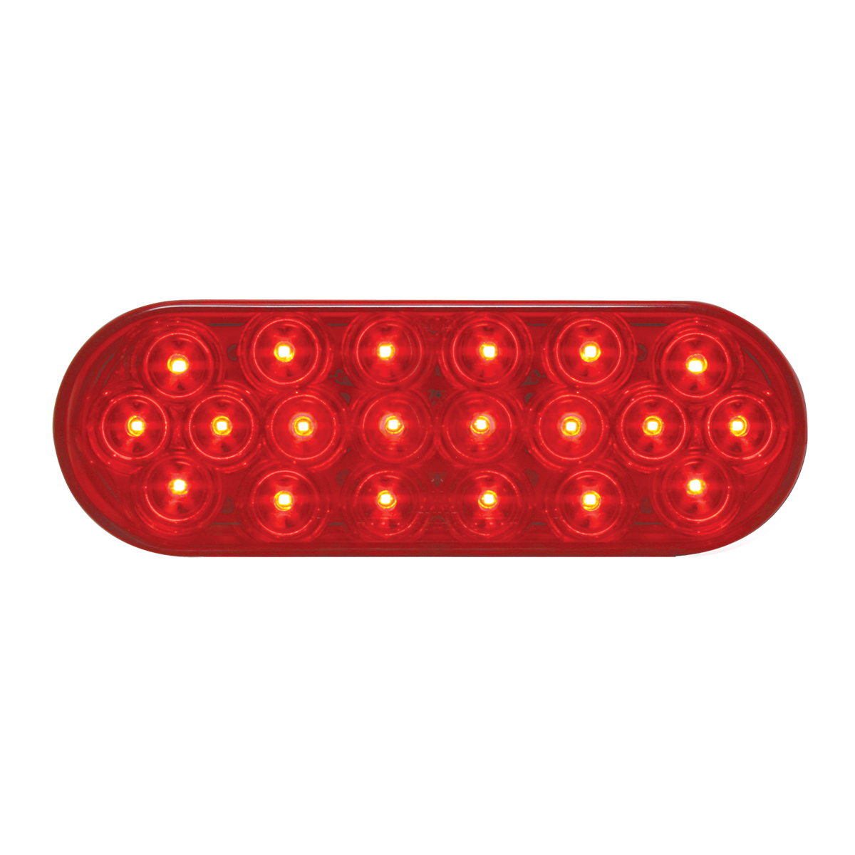 #87721 - Oval Sealed Fleet LED Flat Red/Red Light - Slanted