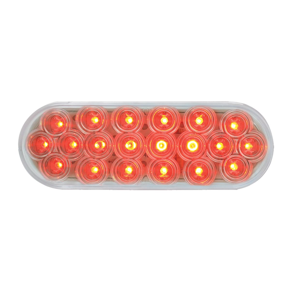 #87729 - Oval Fleet LED Flat Red/Clear Light - Slanted