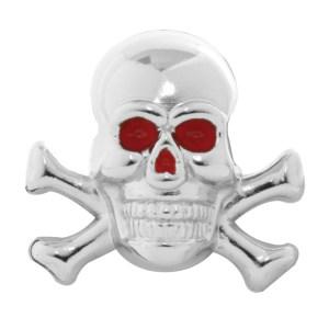 #93751 Chrome Plated Red Eye Skull w/ Bones Dash Knob