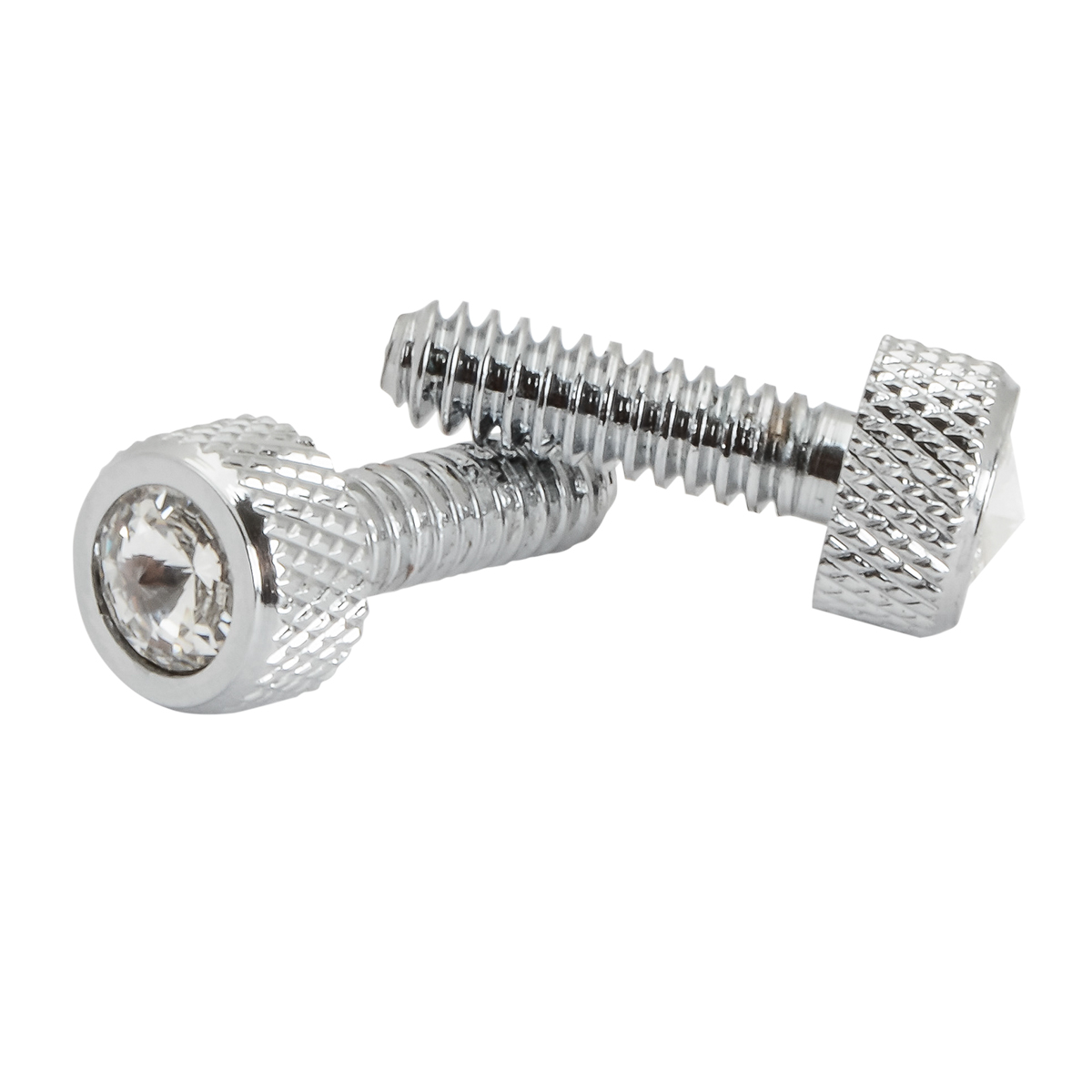 67152 Chrome Dash Screws with Clear Crystal