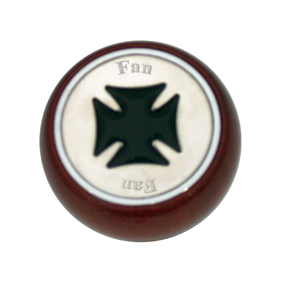 95460 Black Iron Cross Dashboard Control Knob w/ Fan Script