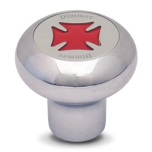 Chrome Dashboard Control Knobs with Script Plate and Iron Cross Sticker