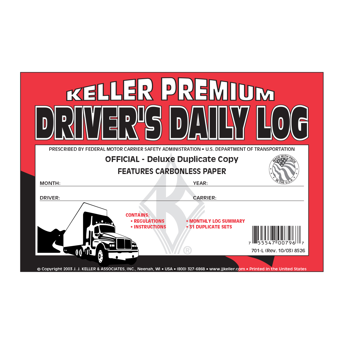 99901 Driver's Daily Log with No DVIR in Book Format A
