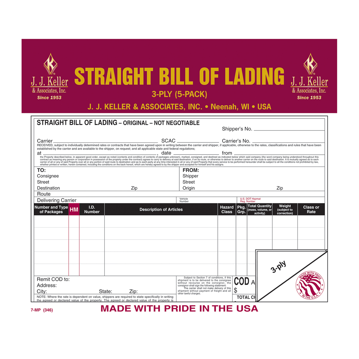 99906 Straight Bill of Lading in Snap-Out Format