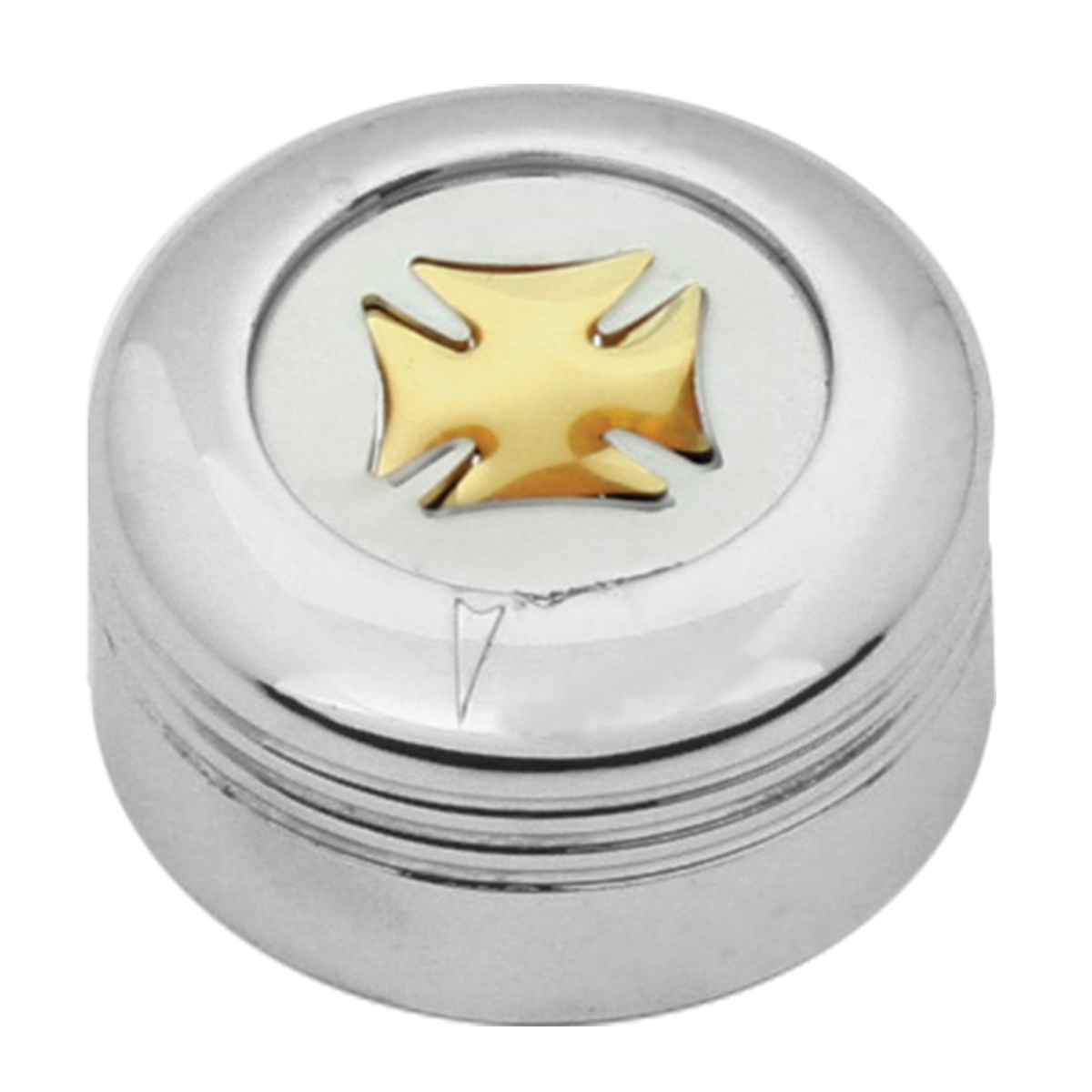 Chrome Plastic A/C Knob w/ Gold Iron Cross for Pete