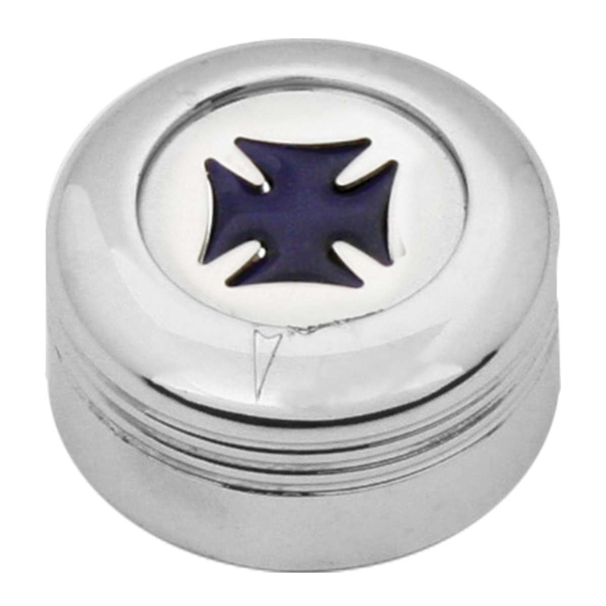 Chrome Plastic A/C Knob w/ Purple Iron Cross for Pete