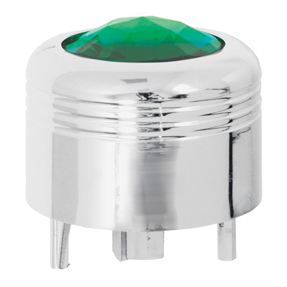 69043 Chrome Plastic A/C Knob w/ Green Plastic Crystal for Pete