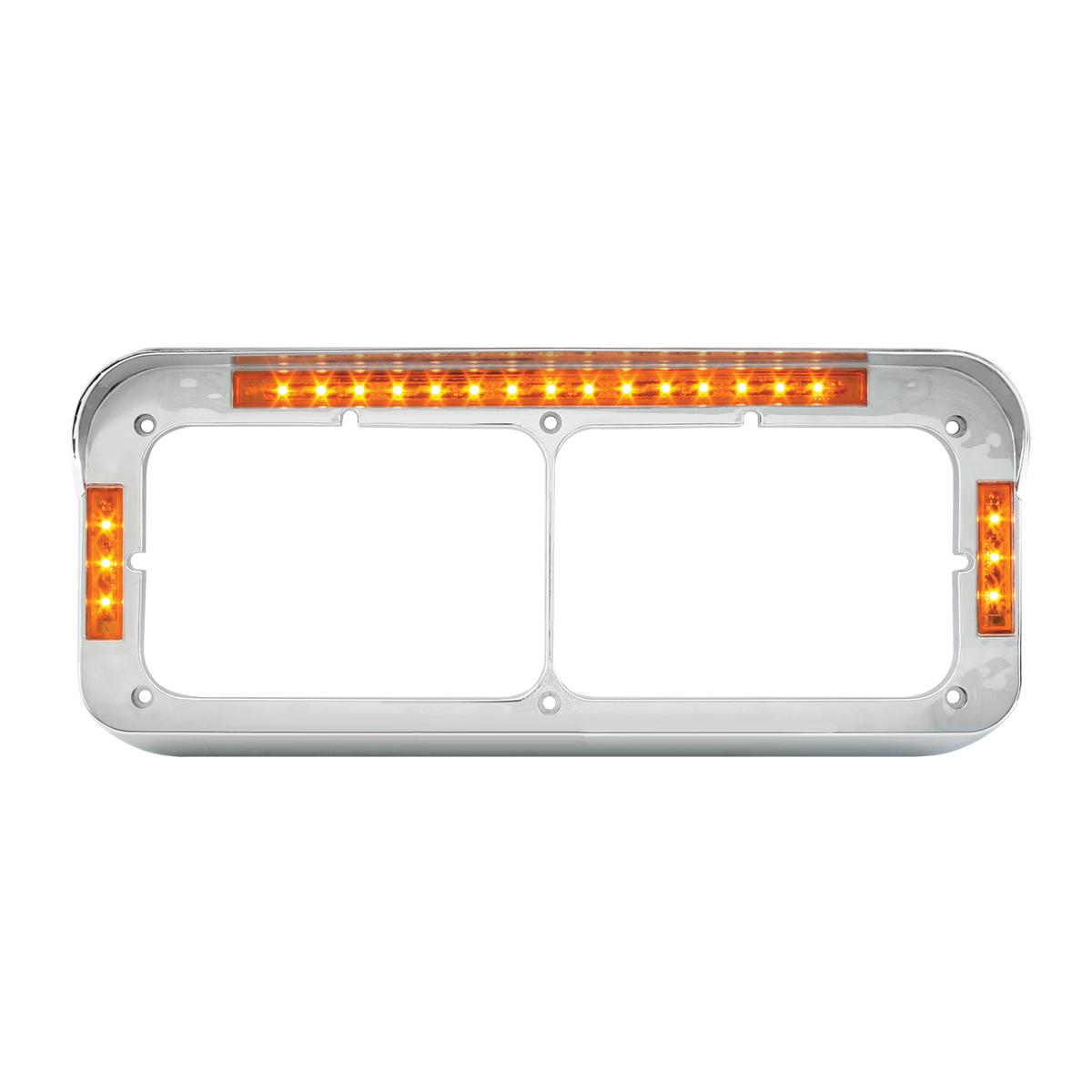 87595 Dual Rectangular Headlight Bezel w/ Visor in Amber LED/Amber Lens