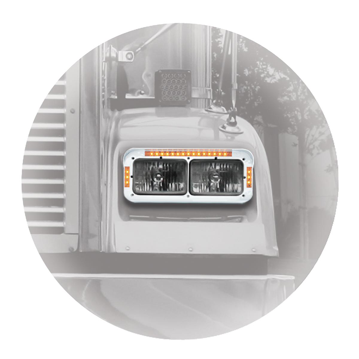 Dual Rectangular Headlight Bezel w/ Visor in Amber LED