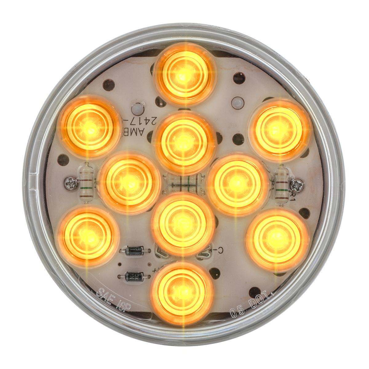 "77451 4"" Mega 10 LED Light in Amber/Clear"