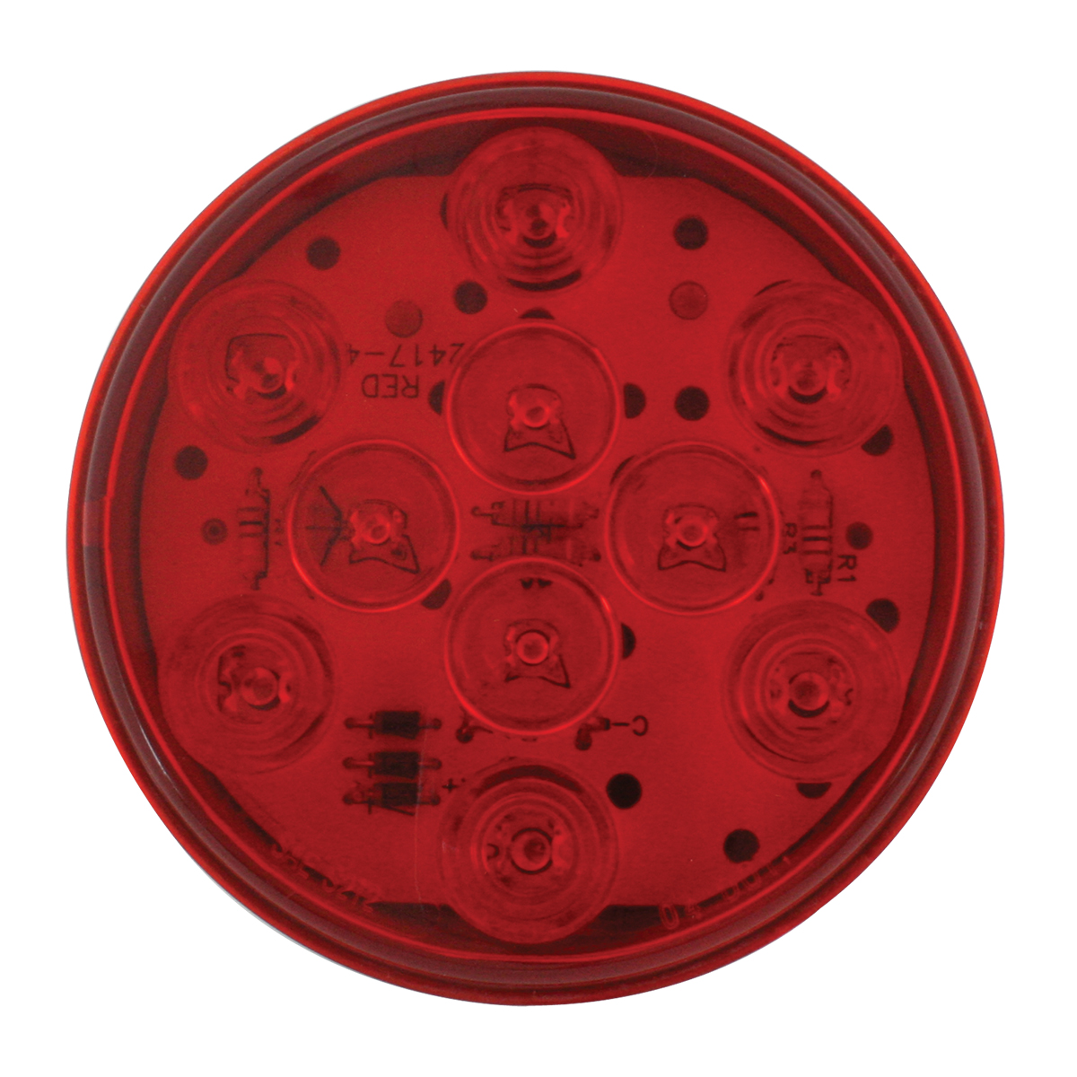 "77452 4"" Mega 10 LED Light in Red/Red"