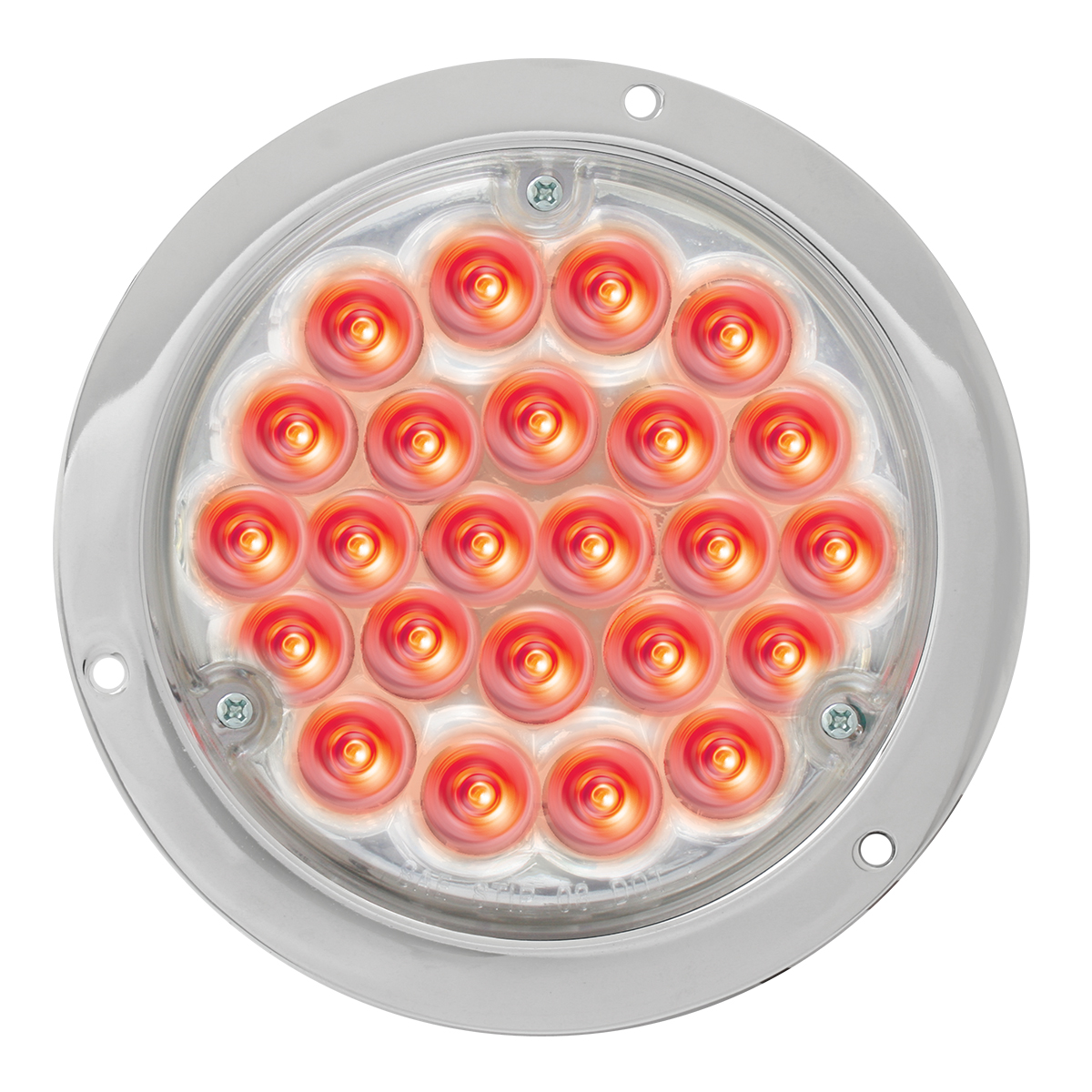"87583 4"" Pearl LED Light in Red/Clear w/ Chrome Housing"