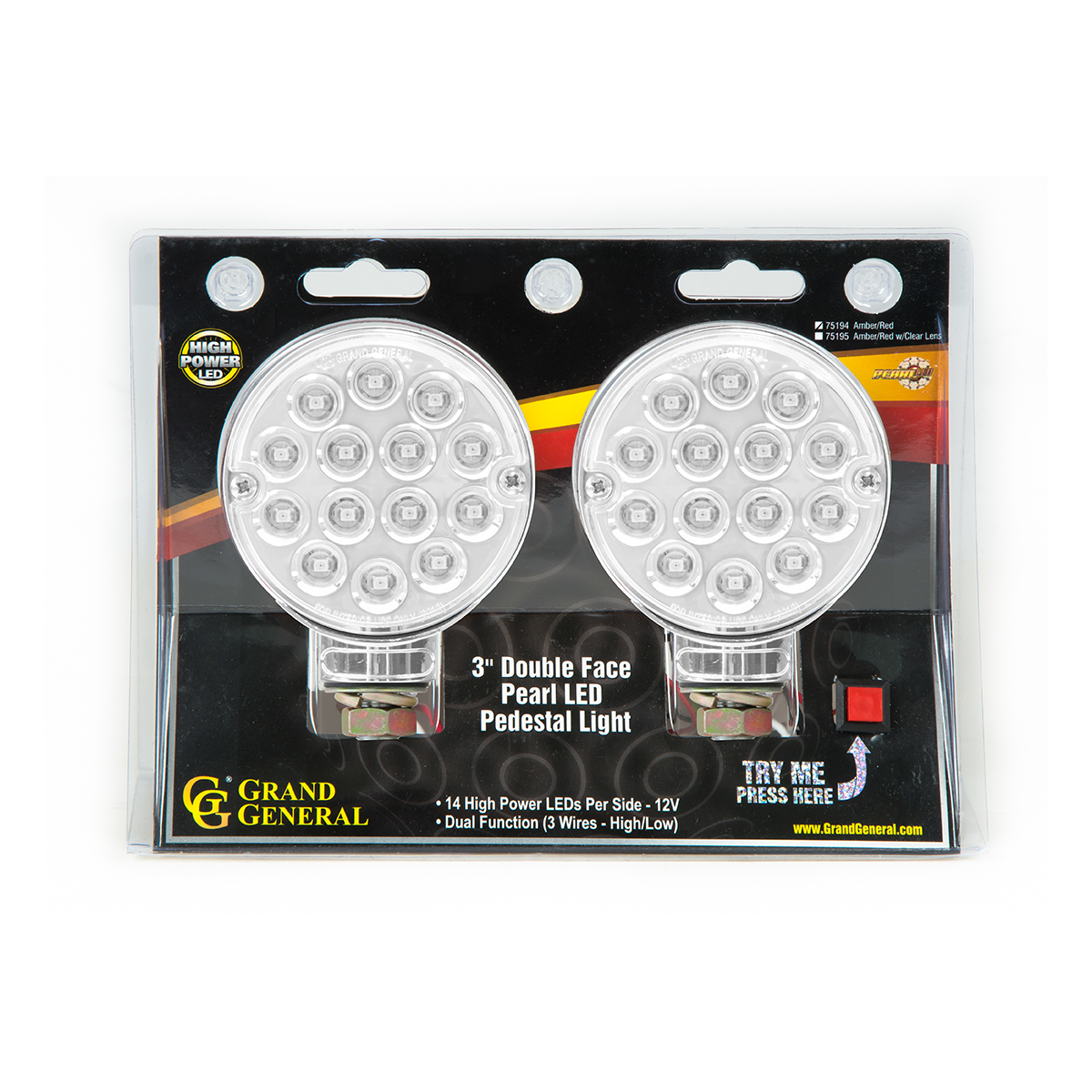 "75195 Twin Pack 3"" Double Face Pearl LED Pedestal Light"