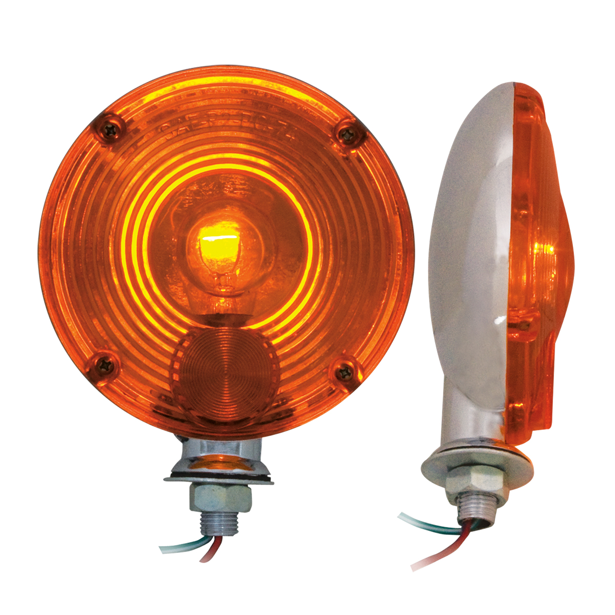"#80321 4"" Single Face Light Duty Pedestal Amber Light"