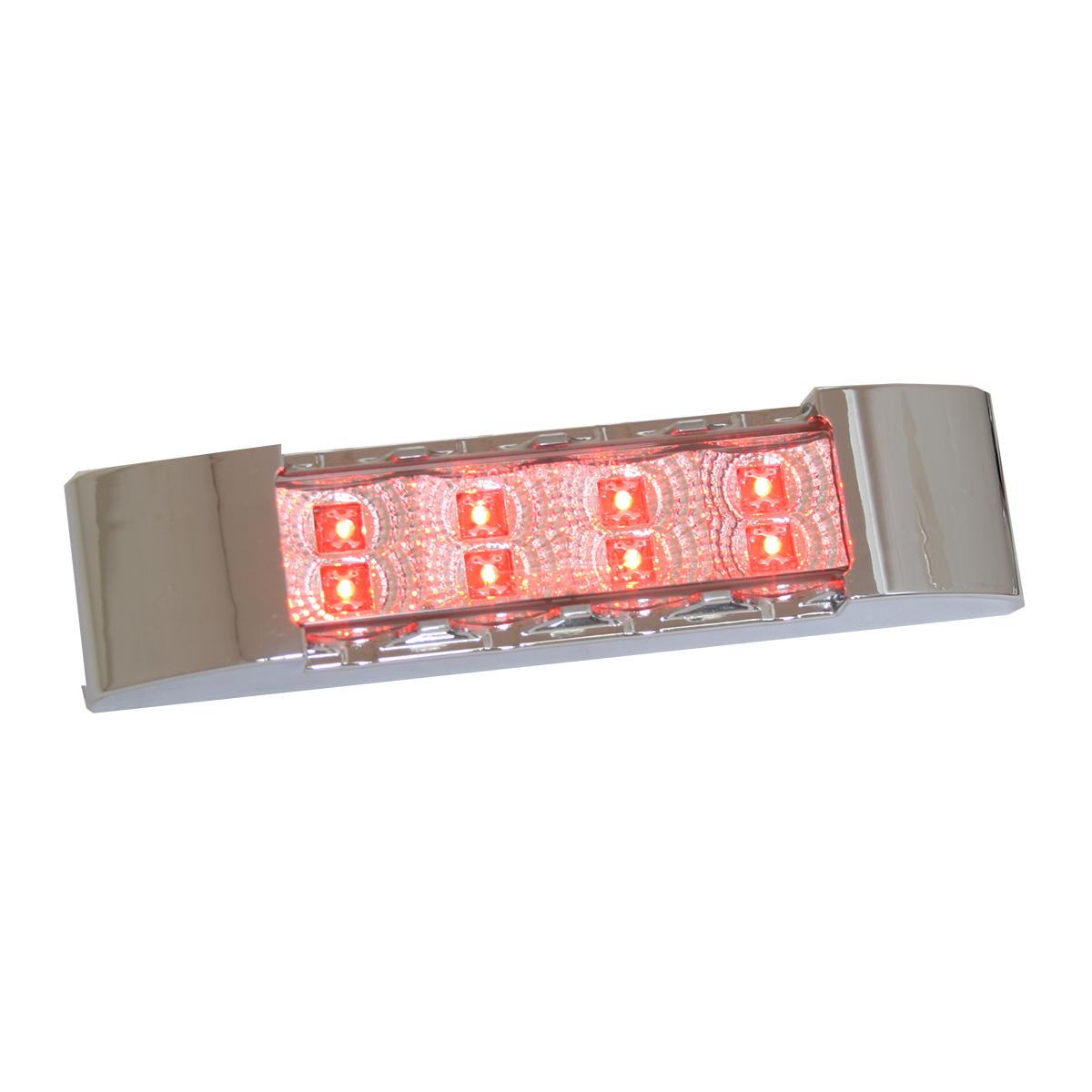 76173 Slim Rectangular Spyder LED Light in Red/Clear with Chrome Plastic Bezel