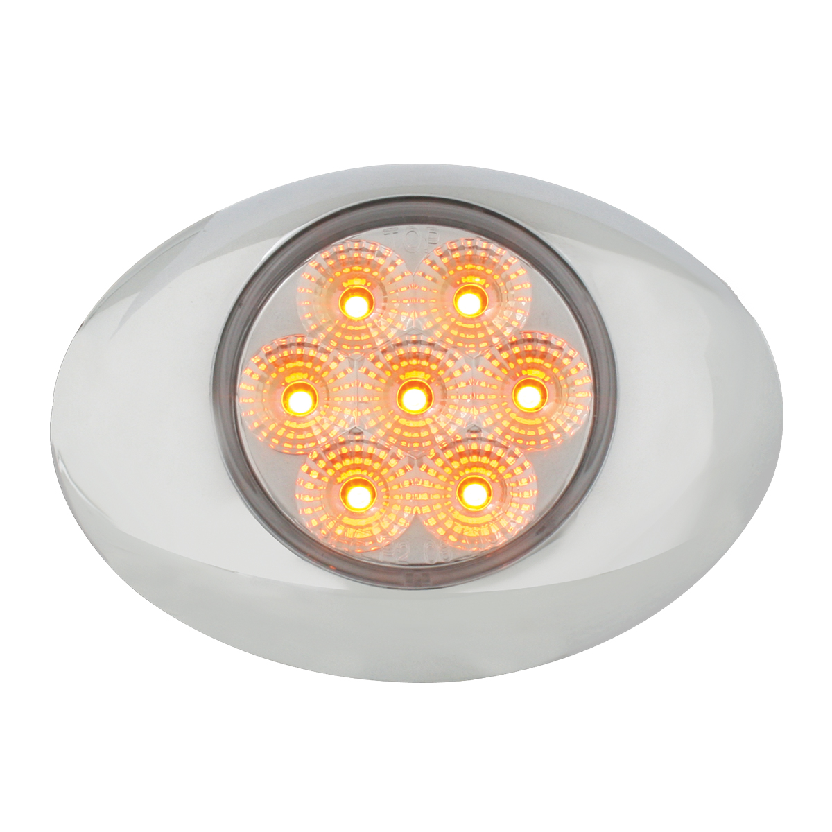 Small Spyder LED Light in Amber/Clear with Chrome Bezel