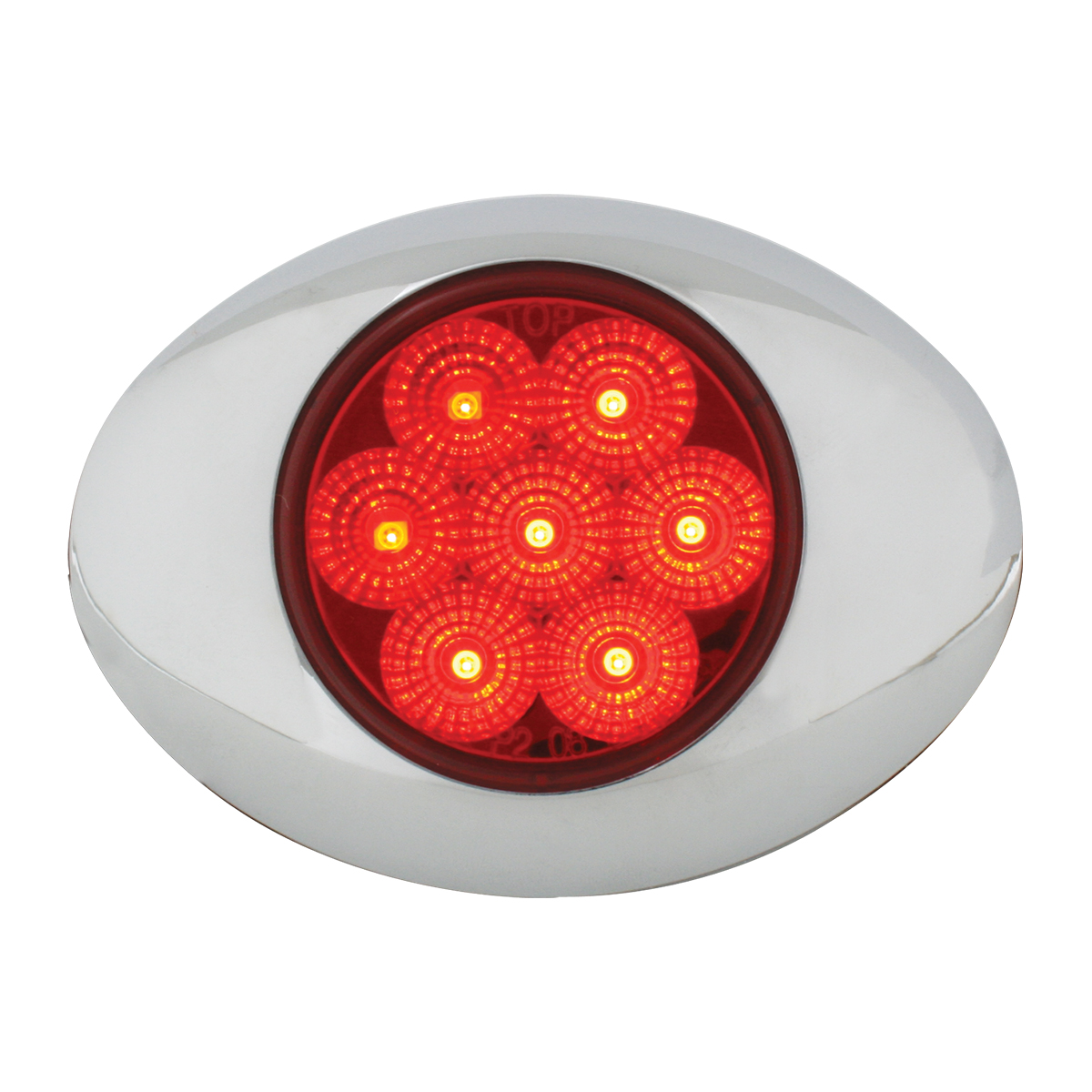 Small Spyder LED Light in Red/Red with Chrome Bezel