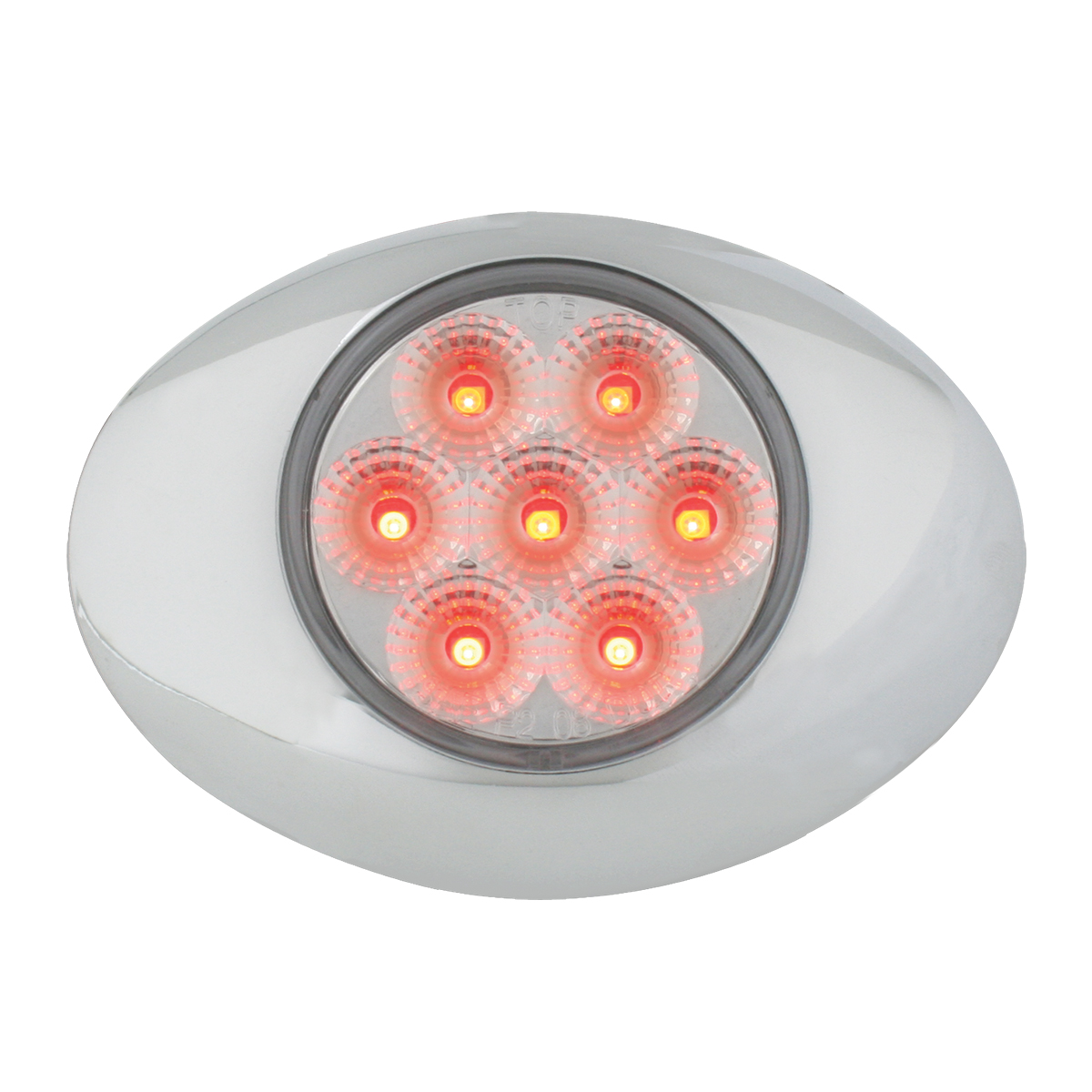 Small Spyder LED Light in Red/Clear with Chrome Bezel