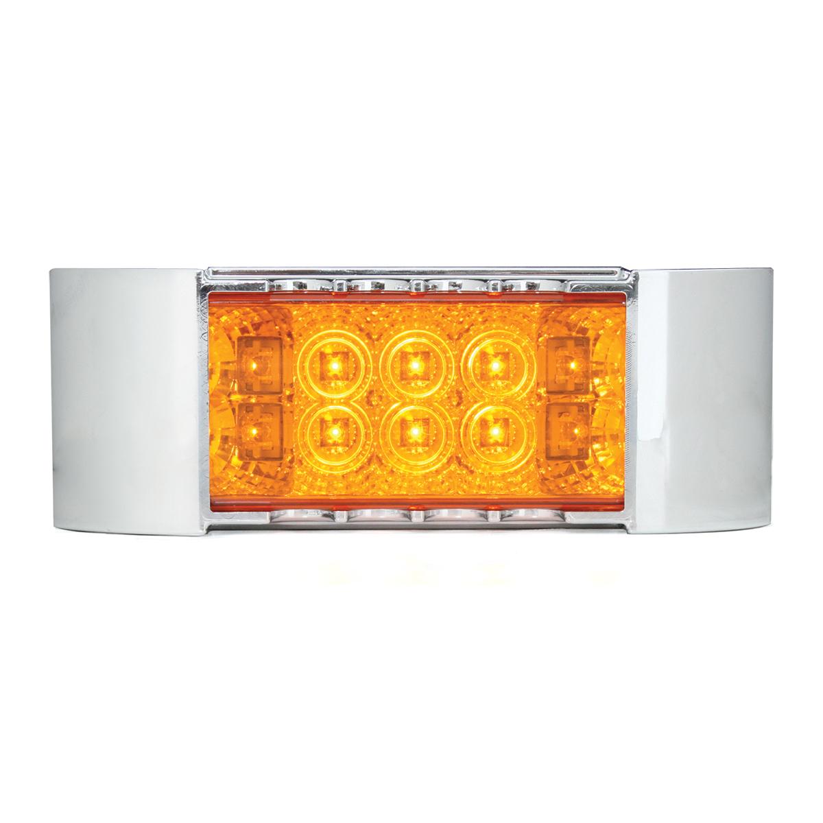 76214 Rectangular Wide Angle Spyder LED Marker Light w/ Chrome Plastic Bezel