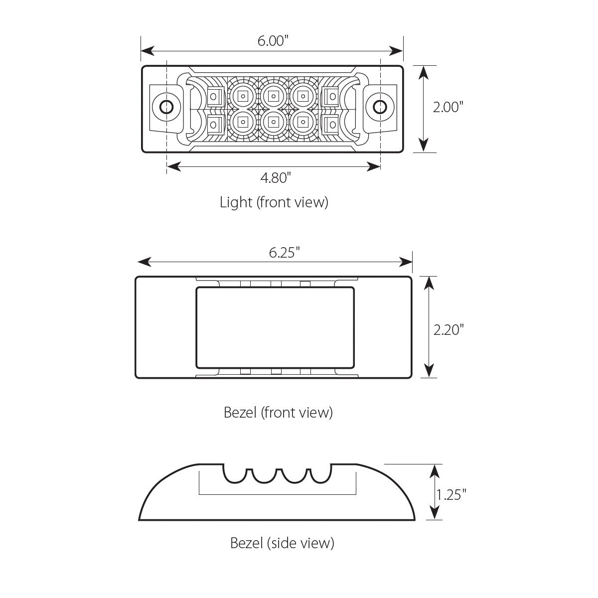 Rectangular Wide Angle Spyder LED Marker & Turn Light with Chrome Bezel